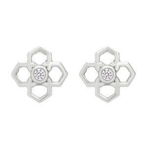 KENDRA SCOTT • Silver Crystal Rue Logo Earrings